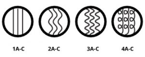 1a-c , 2a-c, 3a-c, 4a-c hair types